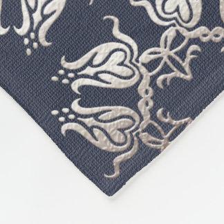 baroque style floral  blue pattern fleece blanket