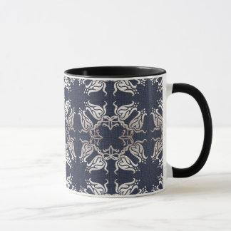 baroque style floral  blue pattern mug