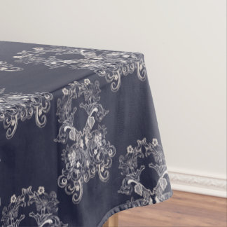 baroque style floral navy pattern. tablecloth