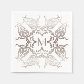 Baroque style floral pattern. monogram. disposable serviette