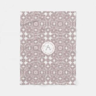 Baroque style floral pattern. monogram. fleece blanket