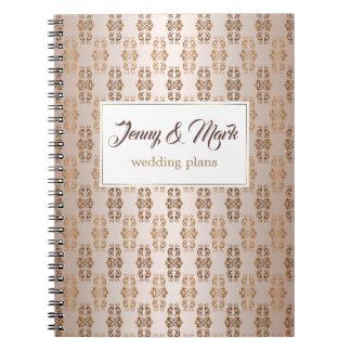Baroque style gradient beige pattern. Text. Notebooks