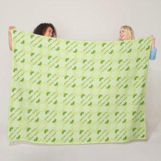 Baroque style green lime pattern. fleece blanket