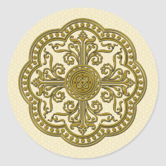 Baroque Style Medallion in Antique Gold Classic Round Sticker