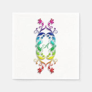 Baroque style rainbow floral element. Monogram. Disposable Serviette