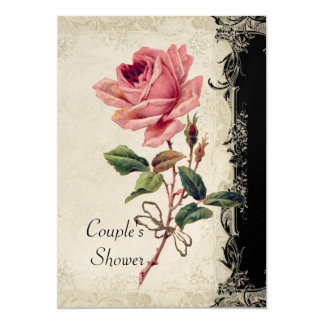 Baroque Style Vintage Rose Black n Cream Lace Card