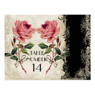 Baroque Style Vintage Rose Black n Cream Lace Postcard