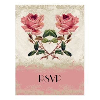 Baroque Style Vintage Rose Lace Postcard
