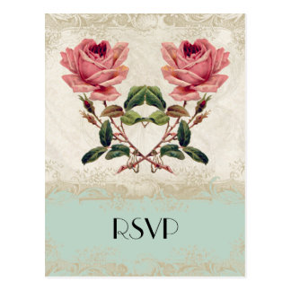 Baroque Style Vintage Rose Mint n Cream Lace Postcard