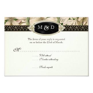 Baroque Vintage Lily Formal Elegant Wedding RSVP Card