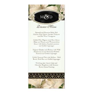 Baroque Vintage Lily Gold Formal Wedding Menu Card