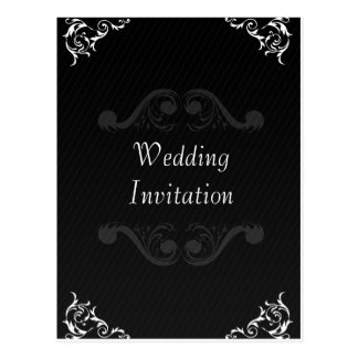 Baroque Wedding Invite Black & White Postcard