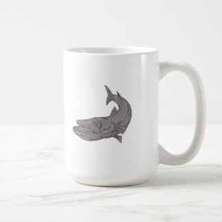 Barracuda Swimming Down Drawing Coffee Mug
