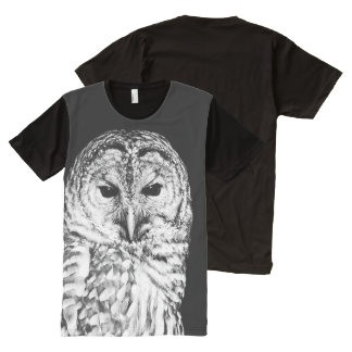 Barred Owl Black and White Bird Portrait Photo All-Over Print T-Shirt