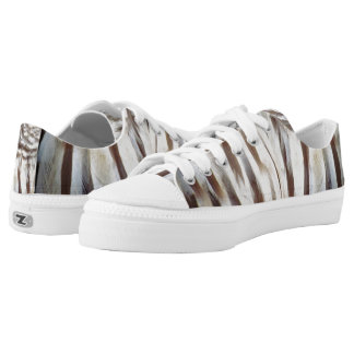 Barred Owl Feather Low Tops Printed Shoes