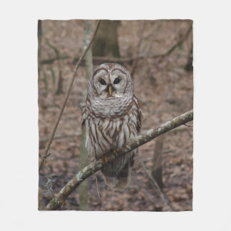 Barred Owl in Forest Picture Fleece Blanket