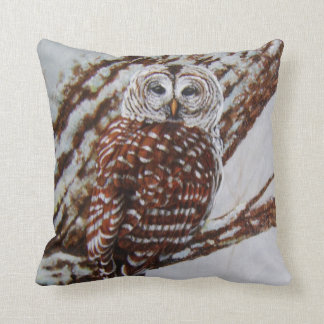 Barred Owl in Snowy Woods Cushion
