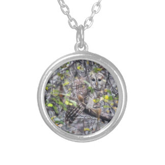Barred Owl Round Pendant Necklace