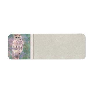 Barred Owl Pastel Oilpainting Return Address Label