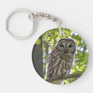 Barred Owl Single-Sided Round Acrylic Key Ring