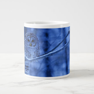 Barred Owl Snow Falling Large Coffee Mug