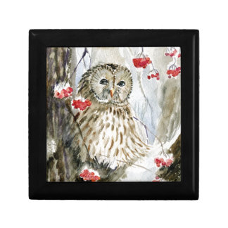 Barred Owl watercolor painting Small Square Gift Box