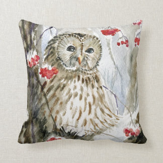 Barred Owl watercolor painting Throw Pillow