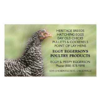 Barred Rock Chicken Egg Farmer Double-Sided Standard Business Cards (Pack Of 100)