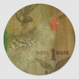 Barred Rock Rooster Trademark Classic Round Sticker