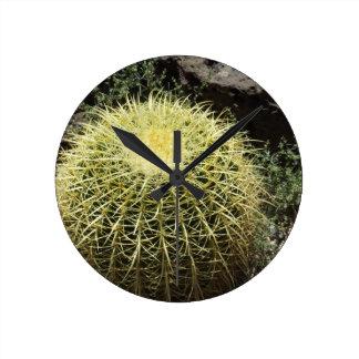 Barrel Cactus Round Clocks