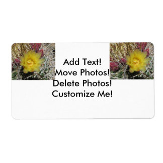 Barrel Cactus Fishhook Yellow Shipping Label