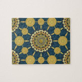 Barrel Cactus Mandala Array on Blue Puzzle