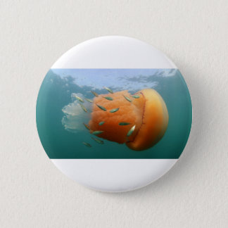 Barrel Jellyfish Swims With Mackerel 6 Cm Round Badge