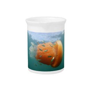 Barrel Jellyfish Swims With Mackerel Pitcher