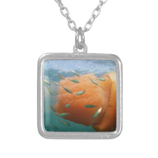 Barrel Jellyfish Swims With Mackerel Silver Plated Necklace