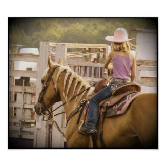 Barrel Race Girl and Horse Poster
