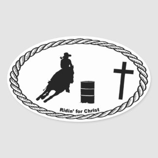 Barrel Racing Cross Euro Style Oval Sticker