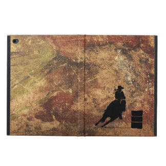 Barrel Racing Girl Silhouette on a Grunge Texture