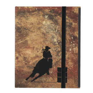 Barrel Racing Girl Silhouette on a Grunge Texture Case For iPad