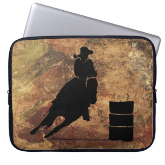 Barrel Racing Girl Silhouette on a Grunge Texture Laptop Sleeve