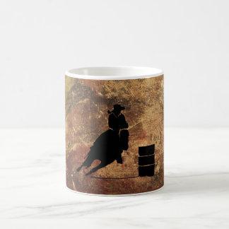 Barrel Racing Girl Silhouette on a Grunge Texture Coffee Mug
