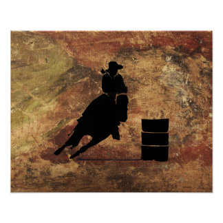 Barrel Racing Girl Silhouette on a Grunge Texture Poster