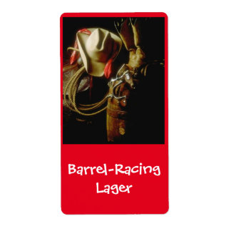 Barrel Racing Lager Western brewing Beer Label Shipping Label