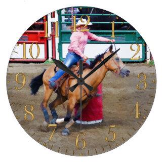 Barrel-Racing Rodeo Cowgirl Design I Large Clock