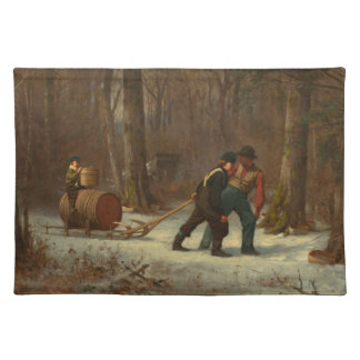 Barrel Sled in a Snowy Forest by E. Johnson Placemat