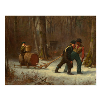 Barrel Sled in a Snowy Forest by E. Johnson Postcard