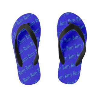 Barry Name Logo On Blue Mosaic, Kid's Thongs
