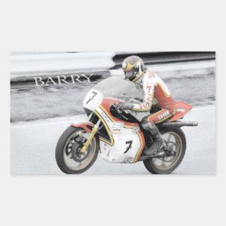 Barry Sheene 2, the hand tinted version Rectangular Sticker