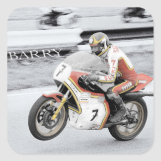 Barry Sheene 2, the hand tinted version Square Sticker