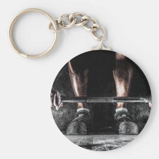 Bars and Chalk - Weightlifting Print Basic Round Button Key Ring
